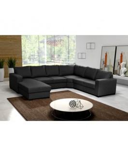 grand canapé en U 6 places panoramique noir OARA