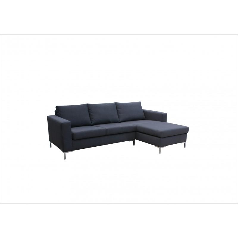 canap d 39 angle 4 places suny en tissu gris pas cher. Black Bedroom Furniture Sets. Home Design Ideas