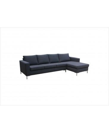 canap d 39 angle 5 places suny en tissu gris pas cher. Black Bedroom Furniture Sets. Home Design Ideas