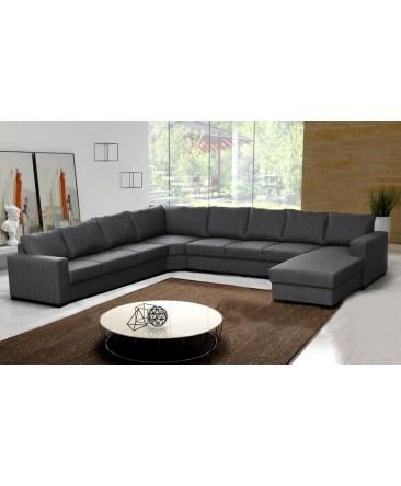 Canapé d'angle 9 places OARA gris moderne
