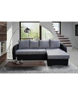 Canapé d'angle convertible EDDY microfibre gris et noir
