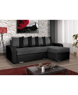 Canapé d'angle 4 places convertible CALYPSO tissu gris et noir pas cher