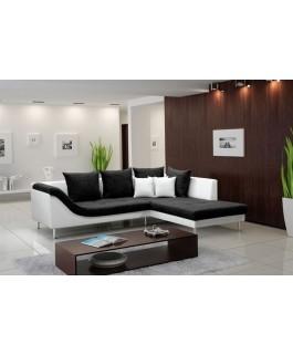 Canapé d'angle ARAGON tissu noir et simili cuir blanc pas cher