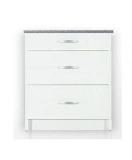 Meuble cuisine bas 3 tiroirs 80cm OXANE blanc