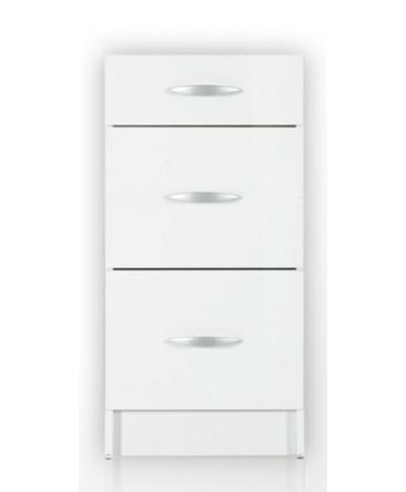 Meuble cuisine bas 3 tiroirs 90cm OXANE blanc