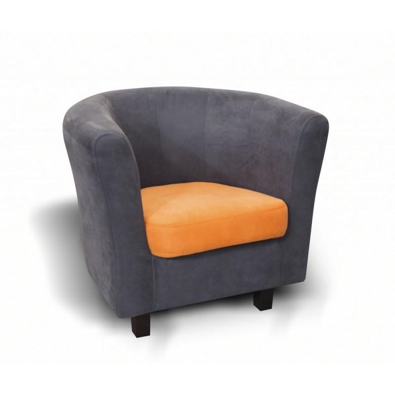 fauteuil cabriolet mario gris et orange original moderne - Cabriolet Fauteuil