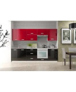 Cuisine complète TORO 2m60 bi-color noir et rouge laqué brillant