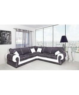 Canapé d'angle LORD gris et blanc