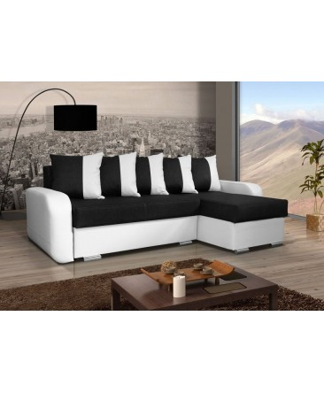canap d 39 angle convertible calypso noir et blanc. Black Bedroom Furniture Sets. Home Design Ideas