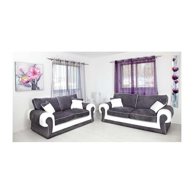 Ensemble de Canapé LORD 3+2 gris et blanc moderne design