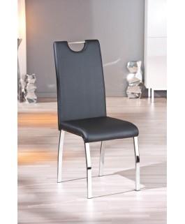 Lot de 2 chaises noires TEXAS pied chrome moderne