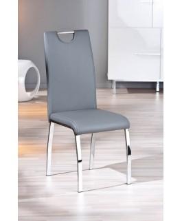 Lot de 2 chaises grises UTAH pied chrome pas cher