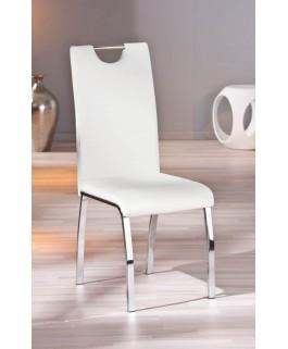 Lot de 2 chaises blanches GEORGIA pied chrome moderne pas cher