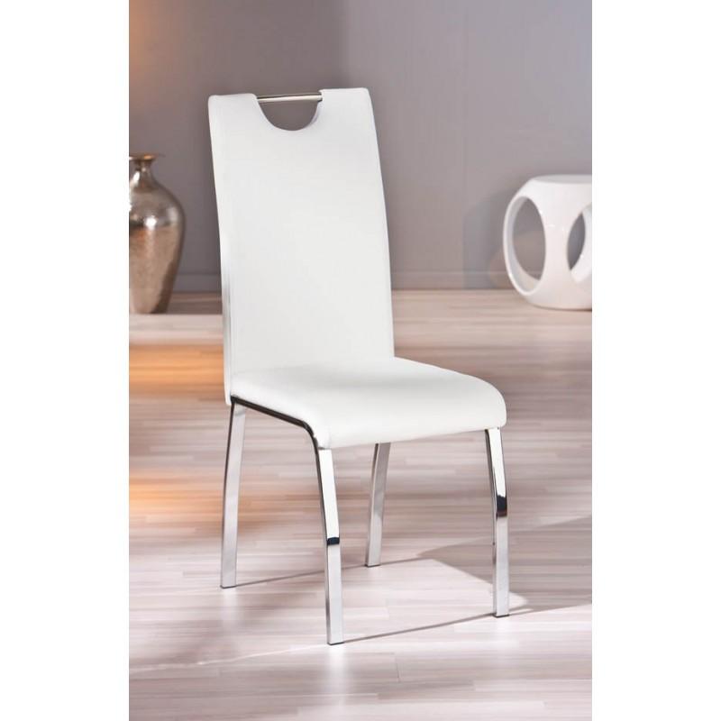 lot de 2 chaises grises modernes georgia pieds en chrome. Black Bedroom Furniture Sets. Home Design Ideas