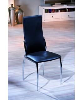 Chaise moderne noire VEGAS pied chrome design pas cher