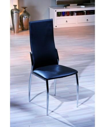 chaise moderne noire vegas pied chrome pas cher. Black Bedroom Furniture Sets. Home Design Ideas