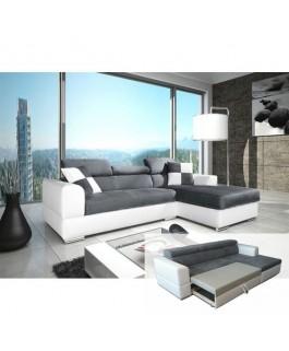 Canapé d'angle NÉTO convertible gris et blanc angle droit