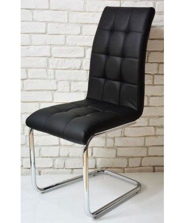 chaise moderne capiton simili cuir noir. Black Bedroom Furniture Sets. Home Design Ideas
