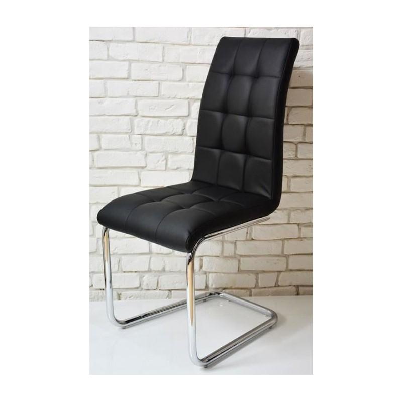 Chaise Moderne CAPITON Noir Simili Cuir Pas Cher