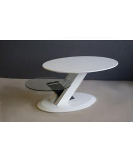 Table basse plateau rond noir et blanc JOY