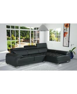 Canapé d'angle CALIFORNIA noir simili cuir moderne design