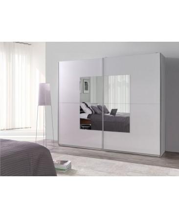 Armoire design LUX coulissante miroir carré contour blanc