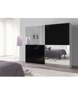 Armoire LUX miroir damier gris argenté noir