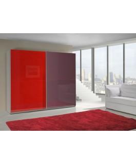 Armoire LUX bi-couleur verticale rouge et aubergine