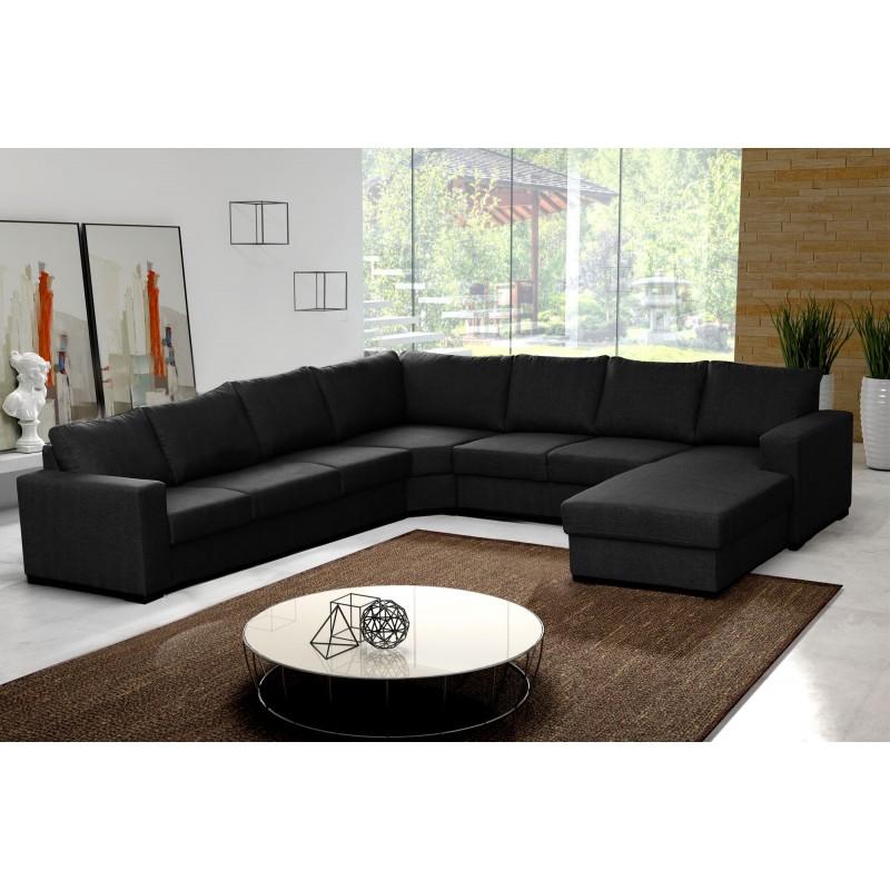 Canapé d'angle 8 places OARA noir