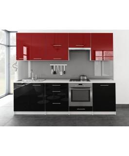 Cuisine complète TORO 2m60 bi-color noir et rouge pas cher en kit