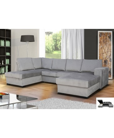 Canapé d'angle convertible OARA 6 places tissu gris