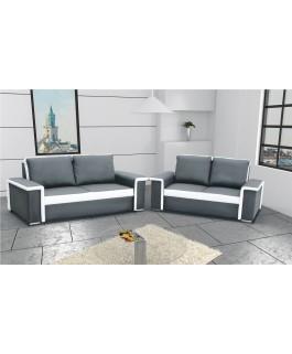 Ensemble canapés BILBAO gris et blanc 3+2 pas cher design