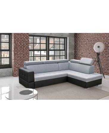 Canapé d'angle convertible SOFTY lit + coffre de rangement pas cher gris et noir moderne design