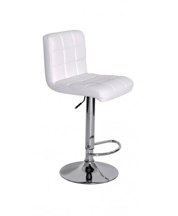Tabouret de bar LINIA réhaussable blanc simili cuir pied chrome