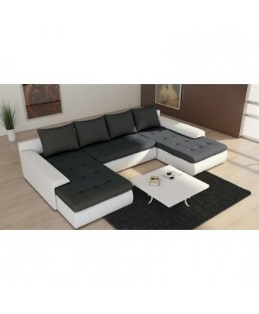 Canapé convertible panoramique JOYU double méridienne noir et blanc design