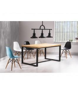 Table LORAS avec plateau hêtre style loft industriel