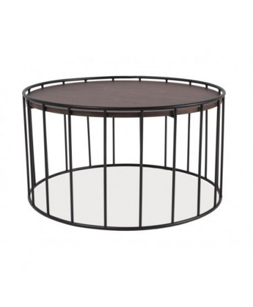 Table basse RENA contours métal plateau en bois style industriel