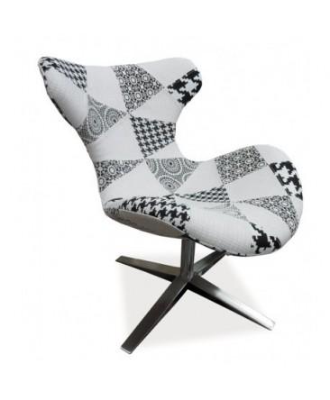 Fauteuil design ELVIS patchwork noir et blanc