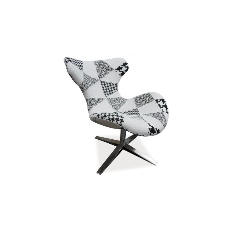 Fauteuil Design ELVIS Patchwork Noir Et Blanc - Fauteuil patchwork noir et blanc