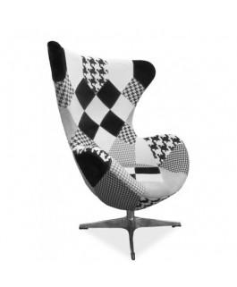 Fauteuil président DIXON design patchwork noir et blanc