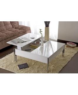 Table basse avec plateau relevable UP blanc laqué