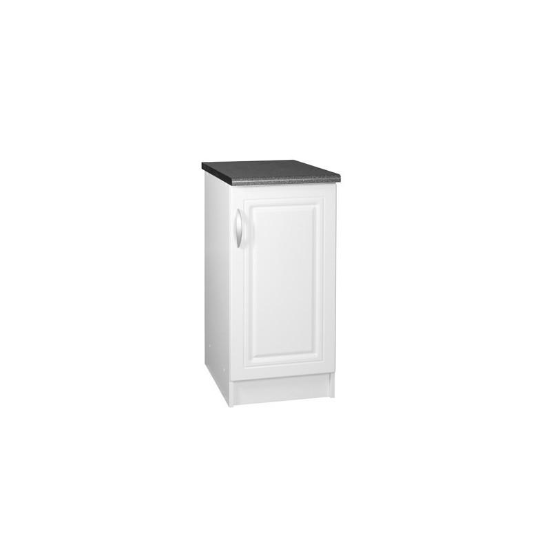 meuble cuisine bas 1 porte 40cm dina blanc avec moulures. Black Bedroom Furniture Sets. Home Design Ideas