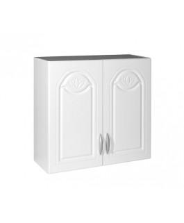 Élément haut 2 portes 80cm blanc avec moulures