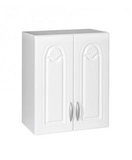 Élément haut 2 portes 60cm blanc avec moulures