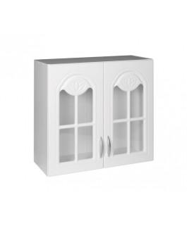 Élément haut 2 portes vitrines 80cm blanc