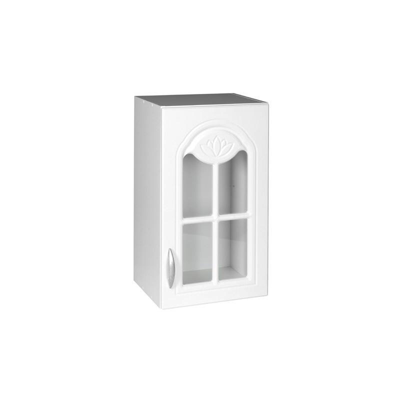 meuble cuisine haut 1 porte vitrine 40cm dina blanc avec moulures. Black Bedroom Furniture Sets. Home Design Ideas