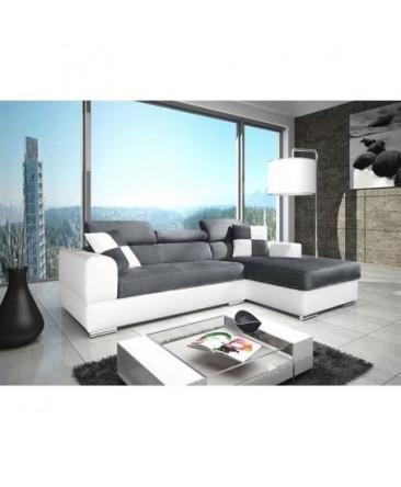 Canapé d'angle 4 places NÉTO gris et blanc angle droit