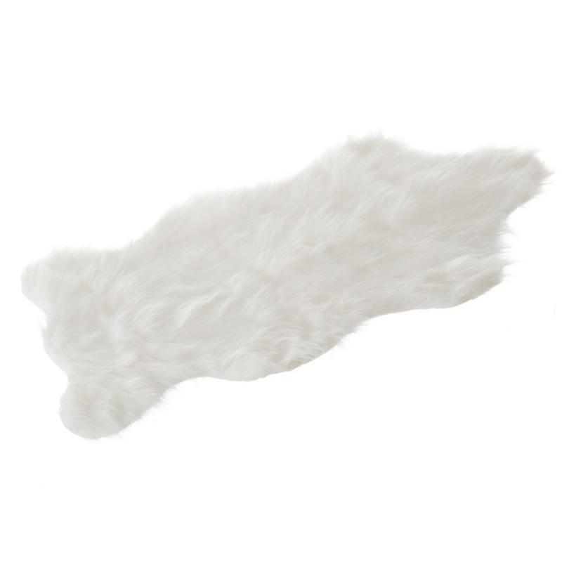 Tapis Blanc Sheepskin En Fausse Fourrure 57 X 94 Cm