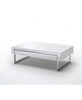 table basse design dispsy plateau blanc laqu et pieds m tal chrom. Black Bedroom Furniture Sets. Home Design Ideas