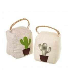 accessoire de déco butoirs de porte cactus en tissu et sable